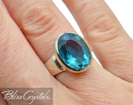 BLUE FLUORITE Size 6 Faceted Oval Ring #FR13