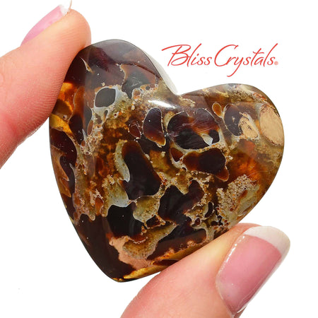 1 BLUE AMBER Heart with inclusions + Bag Polished Crystal for joy #BA39