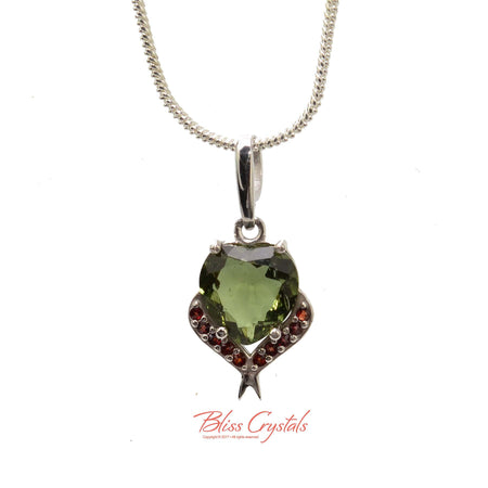 MOLDAVITE + Garnet Heart Faceted Pendant + Chain Natural Crystal Stone Sterling Silver .925 Healing Crystal and Stone Necklace #MP17