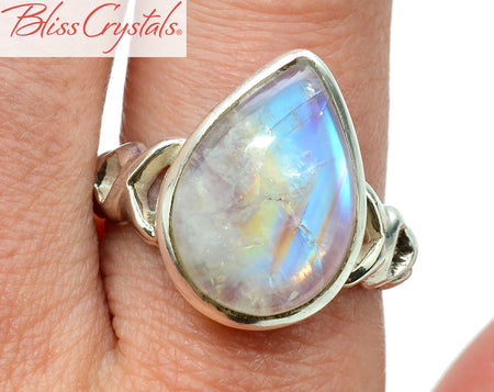 Rainbow MOONSTONE Ring Size 9.5 Teardrop Shape Healing Crystal and Stone Jewelry #MR33
