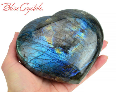 2 lb LABRADORITE Polished Heart + Stand Healing Crystal and Stone #LH32 #shrm