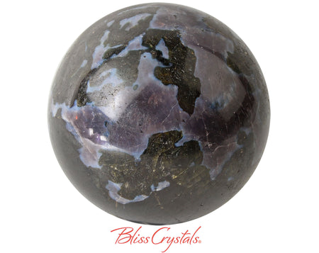 MERLINITE 56 mm Sphere + Stand aka Psilomelane Gabbro Mystic #MS23