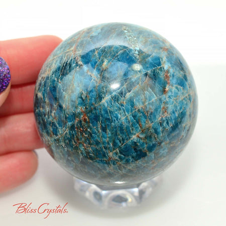 56 mm BLUE APATITE Polished Sphere + Stand for Weight Loss Motivation #AS10