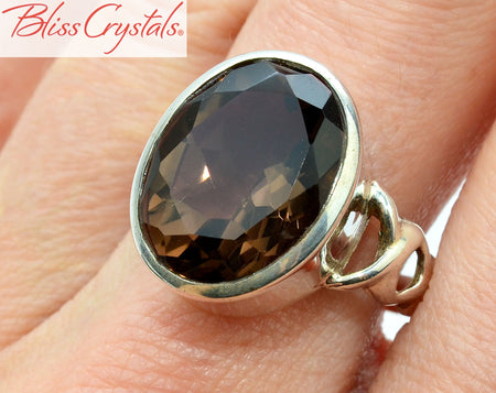 SMOKY QUARTZ Ring Size 8.25 Faceted Oval Healing Crystal and Stone #QR01