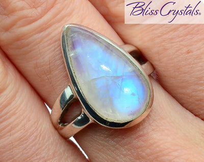 BLUE FLASH MOONSTONE Ring Size 7.5 Teardrop Stone #MR36