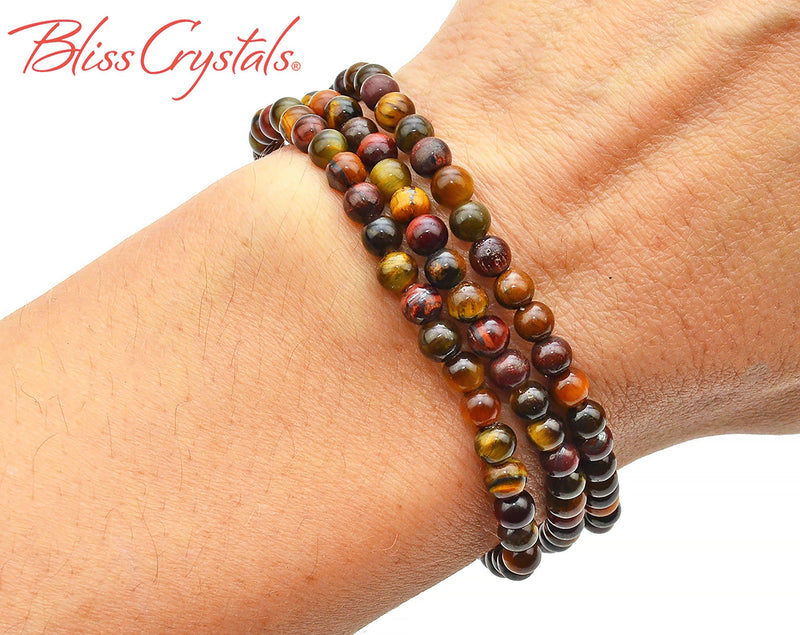 1 TIGER'S Eye Bracelet 4 mm Crystal Elastic Jewelry #BT71