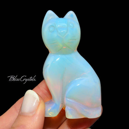 Opalite Kitty Cat Crystal Polished Carving #KK01