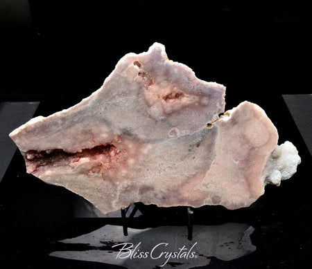 1 lb PINK AMETHYST Semi Polished Slab + Stand with Druzy Vugs #PA34 #shrm