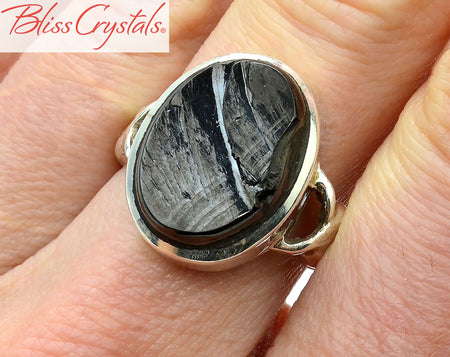 Elite Noble Shungite Size 7 Natural Crystal Ring Healing Crystal and Stone #SR88