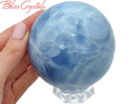 "3.1"" BLUE CALCITE Sphere + Stand, w/ rainbow flash, Healing Crystal and Stone for Creativity, Spiritual Growth #BC71"