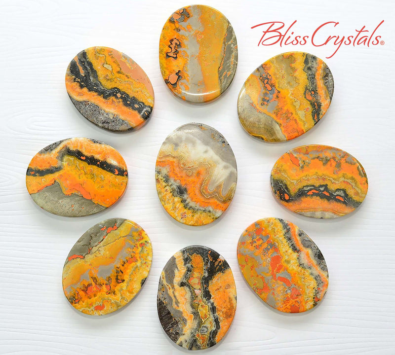 1 BUMBLEBEE JASPER Flat Palm Stone Yellow Orange Black Indonesia #BJ01