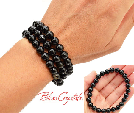 1 BLACK TOURMALINE Bracelet 9mm Stretch Crystal Jewelry for Protection #DB19