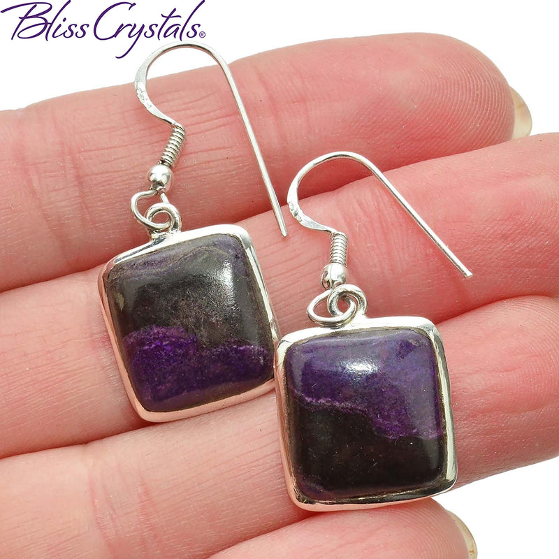 Sugilite Earrings Cabochon Style in Sterling Silver #SE01 #shrm