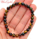 1 TIGER'S EYE Bracelet Gold, Red, Blue 6mm Stretch Elastic AKA Hawks Eye Tigereye Healing Crystal Jewelry #DB18