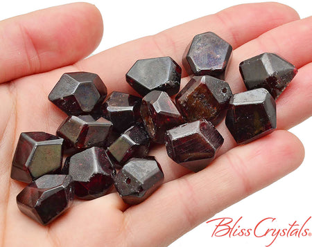 1 FIRE GARNET Faceted Drilled Bead Chunky Polygon Dark Red for Jewelry Crafts Crystal #SP3