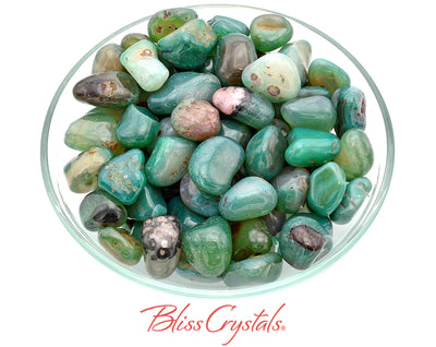6 Fancy Emerald Green AGATE Tumbled Stone Crystal Color Enhanced Dyed #PA27