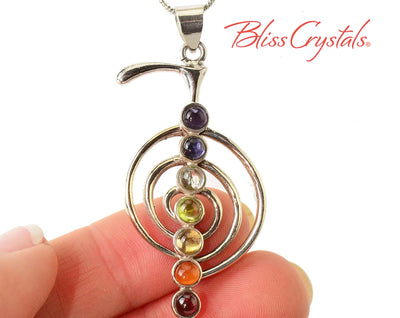 7 Gem Stone CHAKRA Reiki Spiral 1.8 inch Pendant Sterling Silver Healing Crystal and Stone Amethyst Iolite Aquamarine Peridot Citrine #CP32