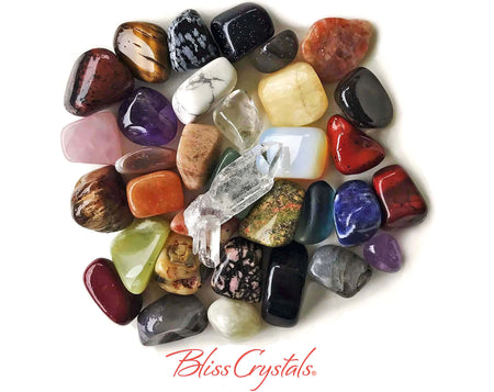 30 Piece Rockhound Treasure Box Healing Crystals and Stones + Gift Box, Bag, Stone ID Guide