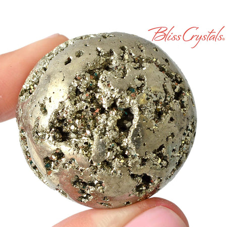 "Extra Quality! 1.4"" PYRITE Sphere Crystal Healing Peru Fools Gold Raw Rough Pyrite Nugget Man Gift Prosperity #R2"