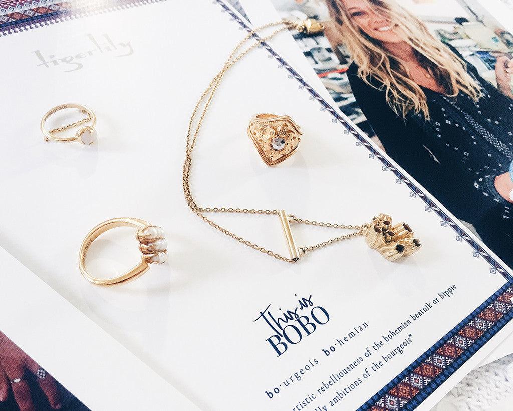 Gold rings and necklaces - Au Revoir Les Filles jewellery collab with Tigerlily Swimwear starring Zippora - Bobo