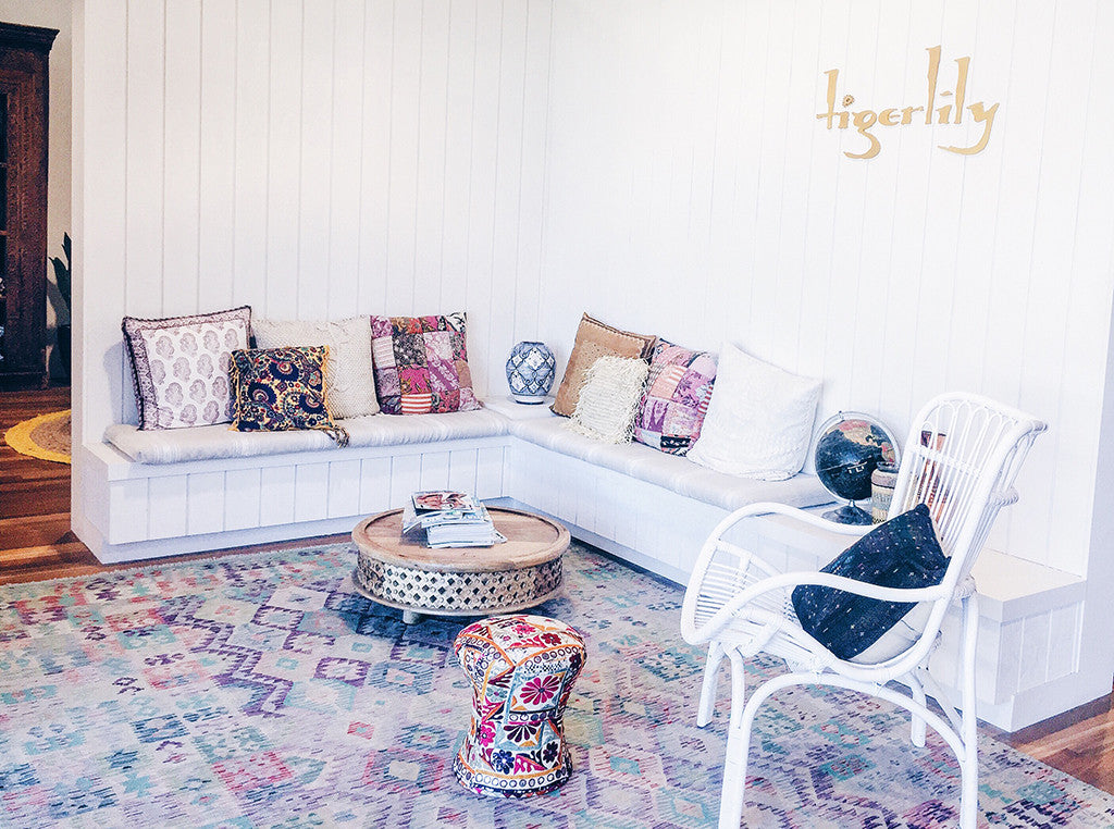 Tigerlily Swimwear design studio office inspired by bohemia lux