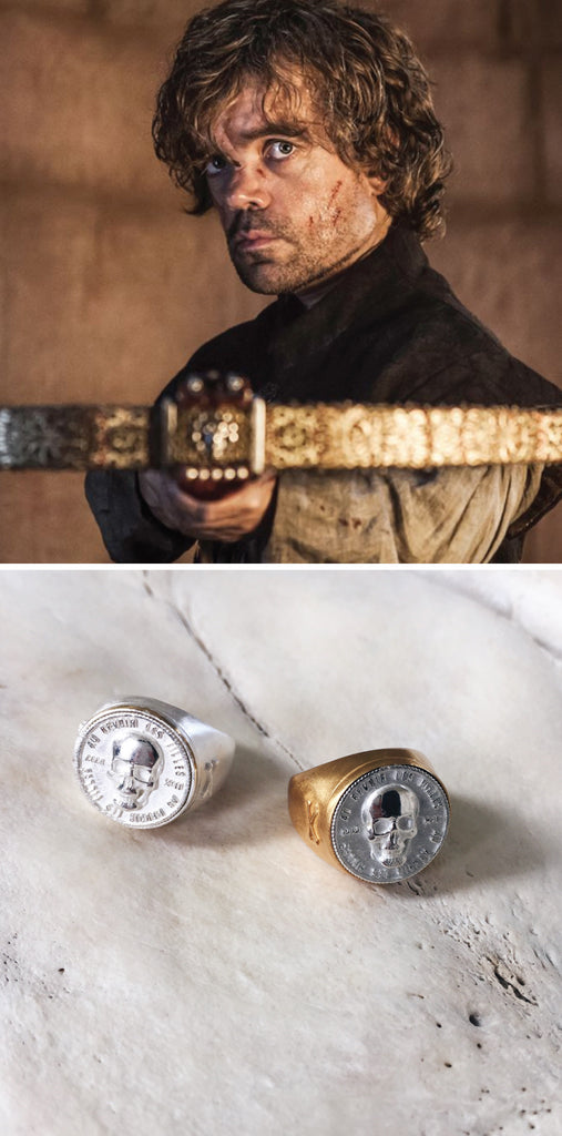 game of thrones jewellery - what kind of jewellery should Tyrion Lannister wear - skull signet ring in gold and silver