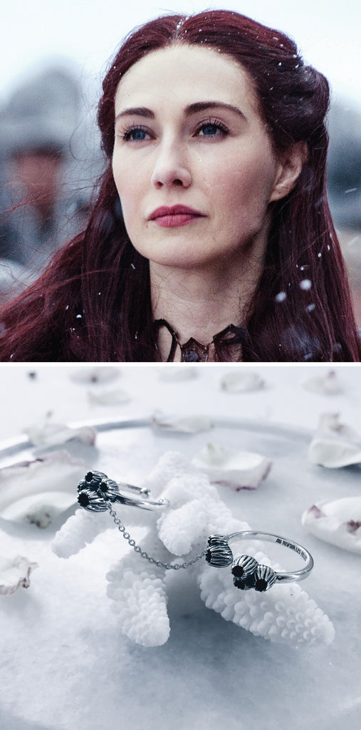 game of thrones jewellery - melisandre or the red woman / red priestess will wear a necklace choker that grants her youthfulness and longevity or some endless stacked double rings