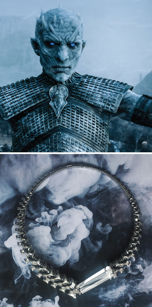game of thrones jewelry - what jewellery should our favourite GoT characters wear? The Night King of the White Walkers should wear a dark gothic vertebrae bone choker that alludes to his madness and the cold... A design that perfectly encapsulates winter is coming