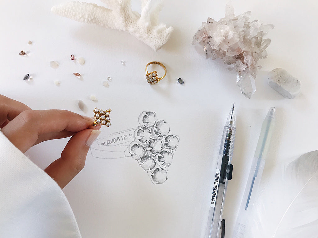 jewelry sketch of pearl ring - diamond shape pearl cluster ring in gold, hand drawn or sketched on paper , creative process and design inspiration of jewellery - vintage pearl ring that is classy, beautiful and elegant, perfect for mother's day gift idea