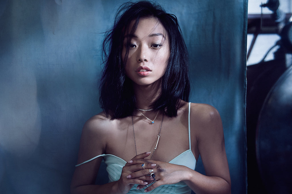 margaret zhang - fashion editorial fashion photo shoot - fine affordable demi jewelry - underwater moody blue muse and damsel wearing sterling silver and australian blue opals and opal jewellery, opal necklace, opal ring
