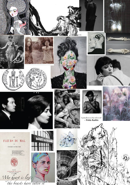 moodboard inspiration inspired by vanitas and memento mori for KILLAFLORA campaign by AU REVOIR LES FILLES