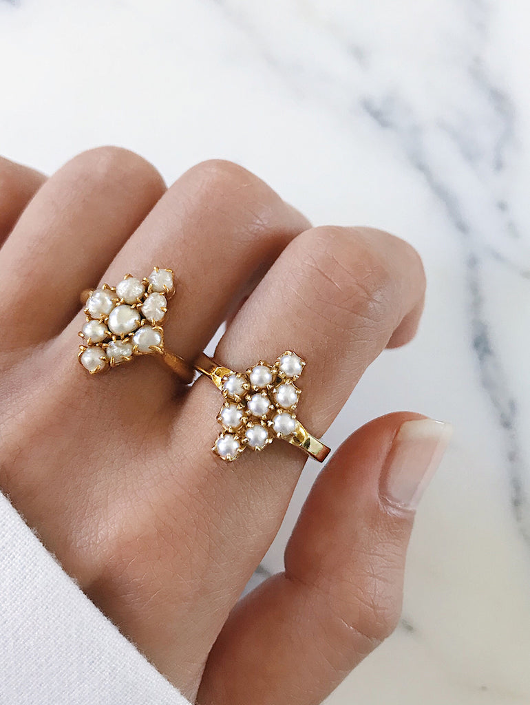 comparing 2 rings - vintage pearl ring with modern pearl cluster ring in beautiful diamond shape. 14k gold sterling silver, great gift ideas for mother's day or mother's day jewelry. learn about the creative process behind this jewelry design. by jewelry label AU REVOIR LES FILLES