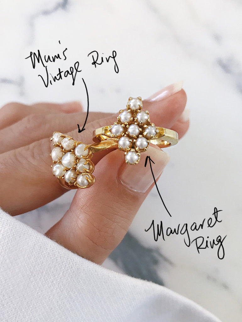 my mother's pearl ring - the inspiration, design process behind the Margaret pearl cluster gold ring - comparing the 2 rings side by side - one vintage and antique, the other modern and effortless.