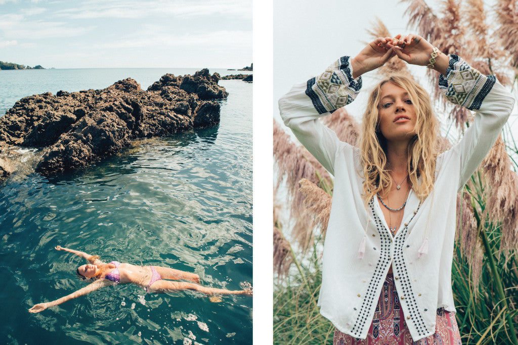 Zippora wearing Au Revoir Les Filles jewellery for Tigerlily Swimwear - Photoshoot in Waiheke islands - Beautiful bronze bohemian mood on sunlit gorgeous ocean and beach
