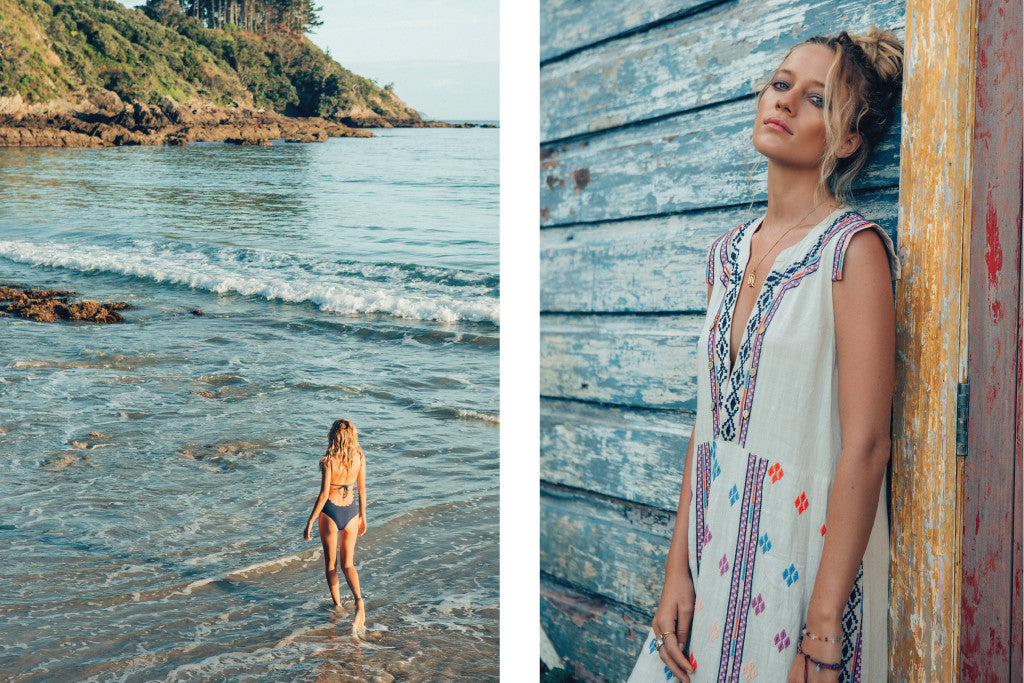 Zippora wearing Au Revoir Les Filles jewellery for Tigerlily Swimwear - beach boho babe vibe