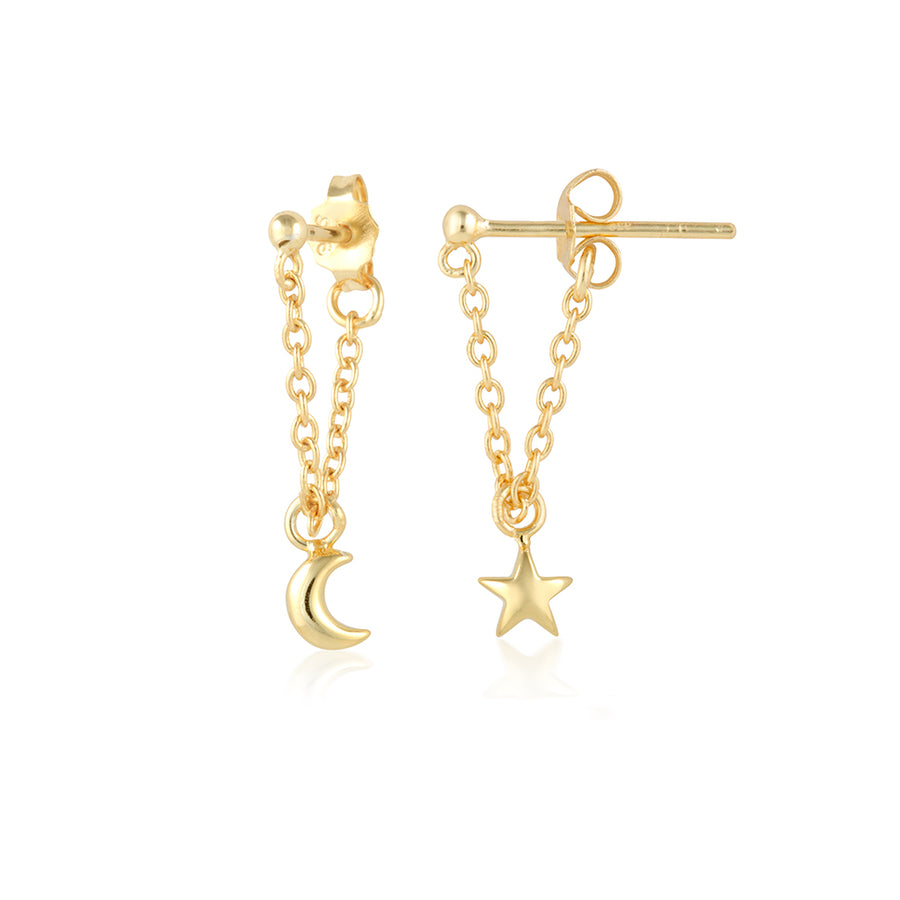 star moon earrings in gold dangling on a fine chain