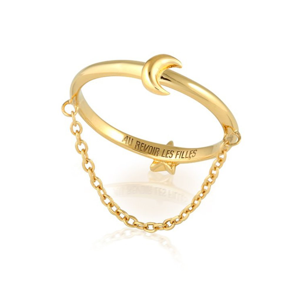 reversible star moon ring in gold with fine chain that dangles on the finger - unique womens ring designs that is perfect for stacking