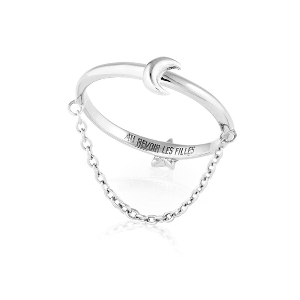 reversible ring with star moon design and fine hanging chain - solid 925 sterling silver - reversible womens ring jewellery that are perfect for stacking
