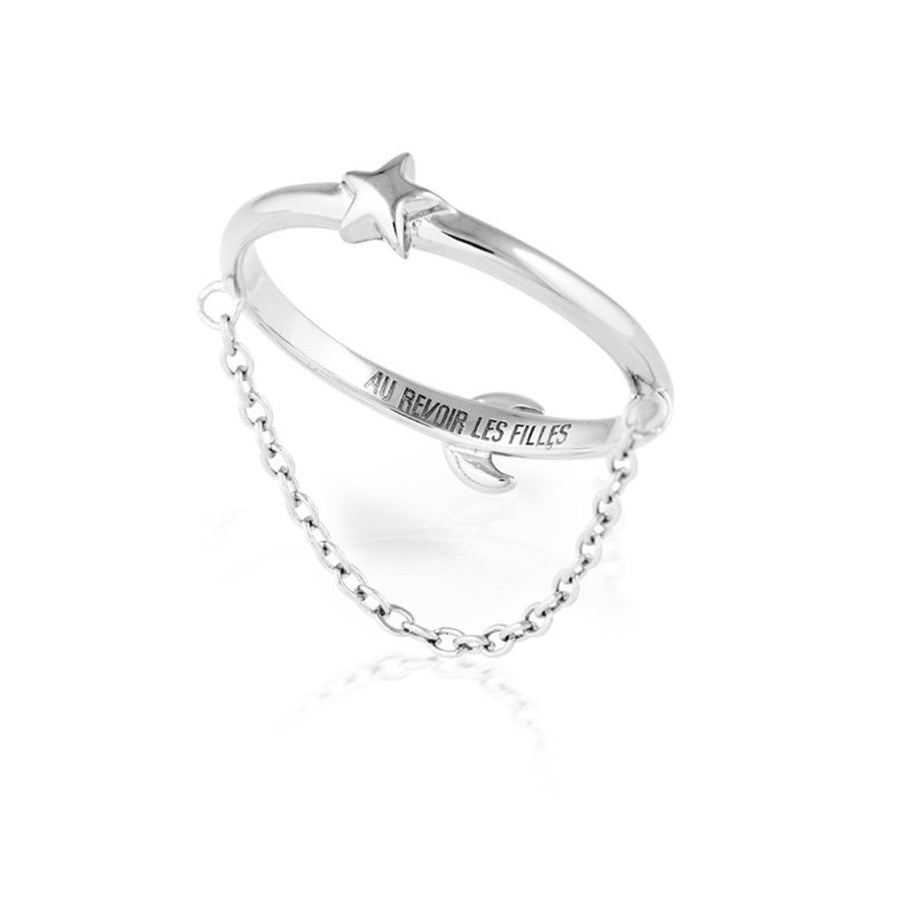 reversible ring with star moon design and fine hanging chain - solid 925 sterling silver - reversible womens ring jewellery