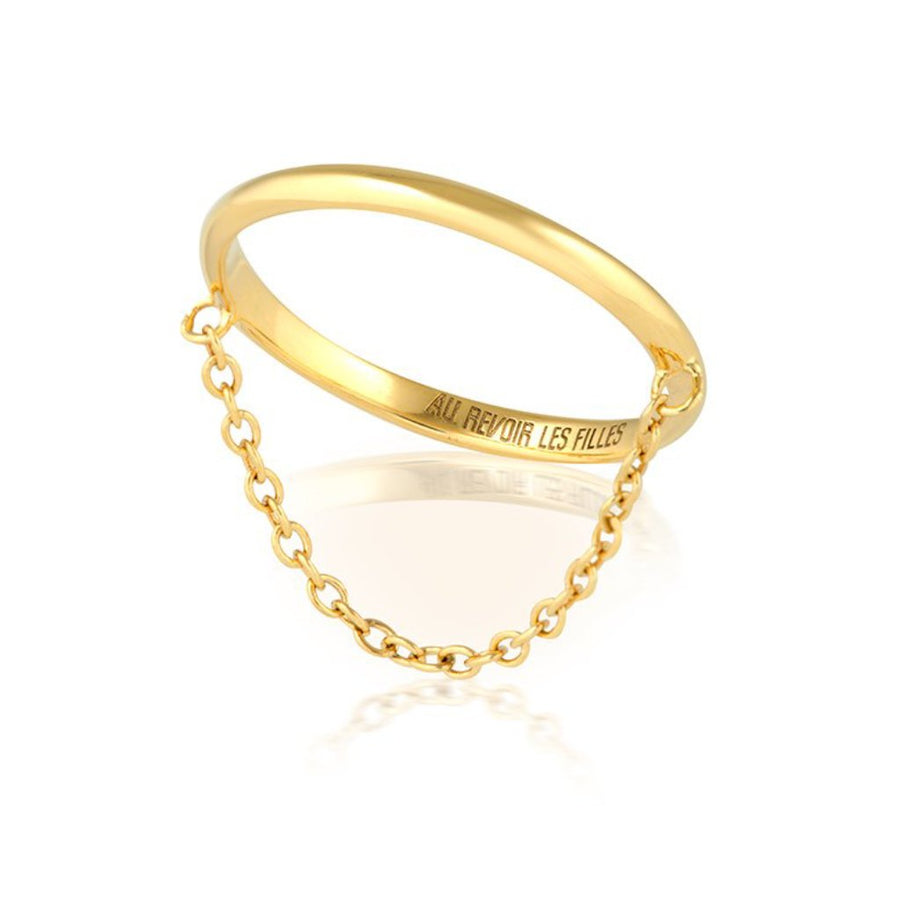 slim fine gold chain ring - simple gold ring bang with dangling chain - minimalist jewellery - womens minimal ring trend