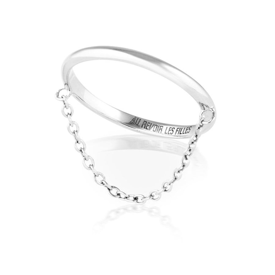 fine silver chain ring in 925 solid sterling silver - slim ring band with dangling chain