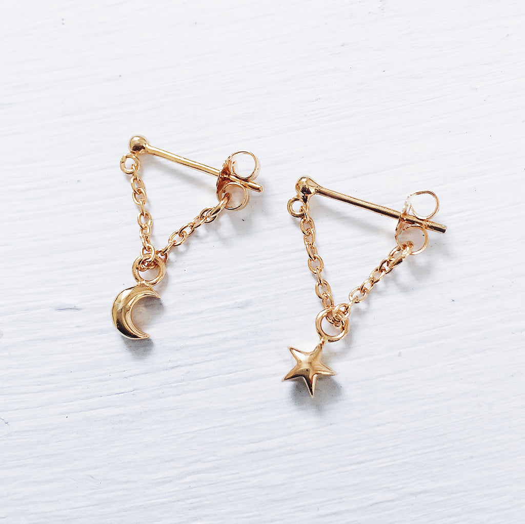 star moon earrings studs hanging on a fine gold chain, perfect star moon dangling earrings