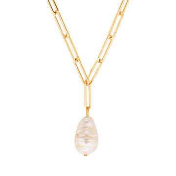 Baroque pearl link necklace in gold. Australian layered jewelllery