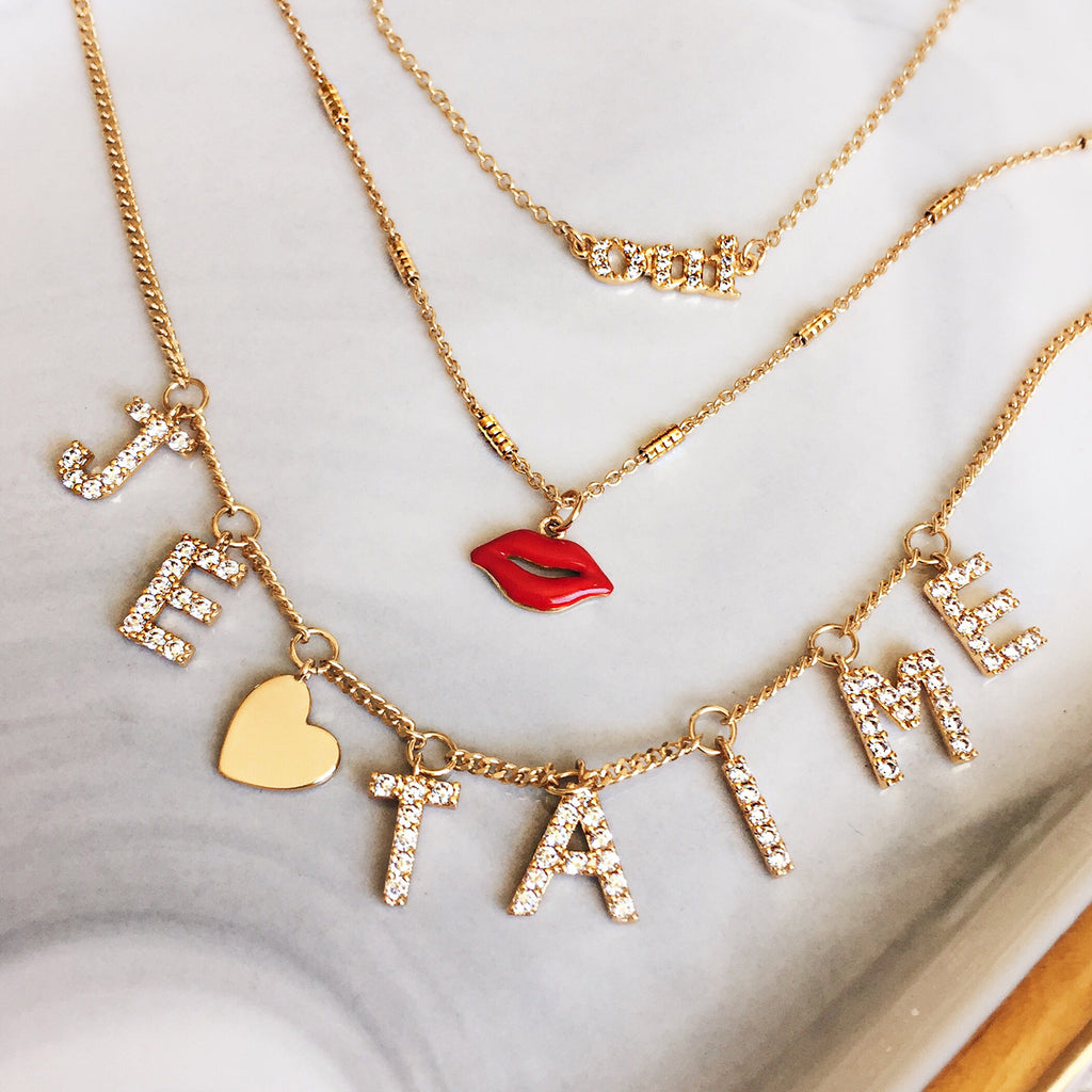 Je t'aime necklace gold diamond red lip necklace oui necklace