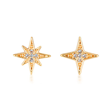 North star mismatched studs. Gold plated earrings for stacking. Layered jewellery in Australia