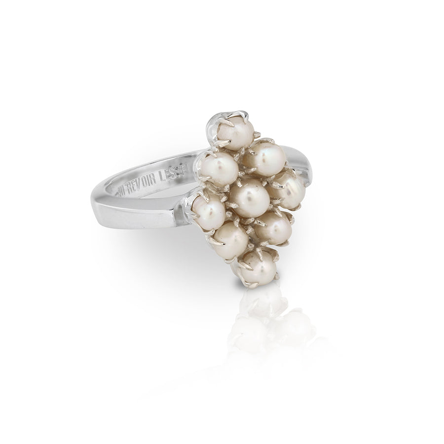 Heritage Pearl Cluster Ring | Diamond Shape | Sterling Silver Classic Timeless Womens Cocktail Ring Jewellery