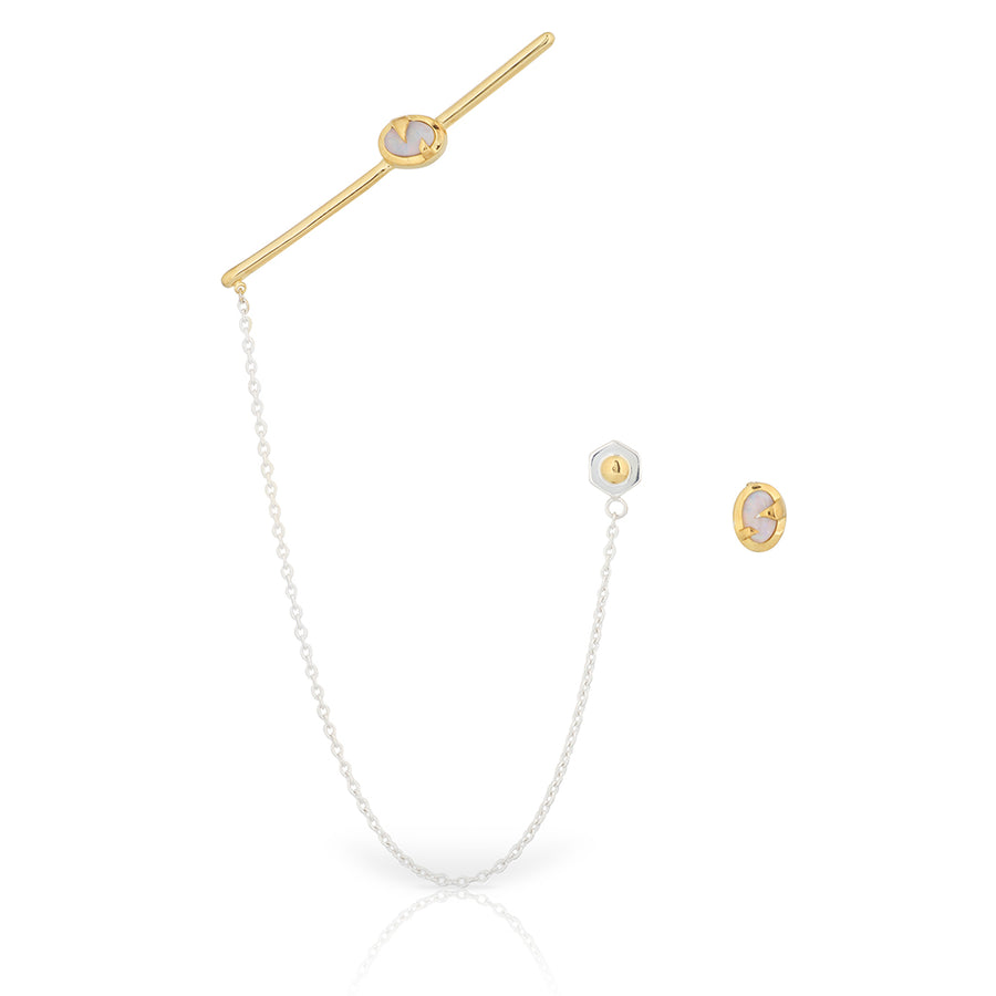 white pink opal ear cuff bar in gold with silver chain joining to a bolt stud earring