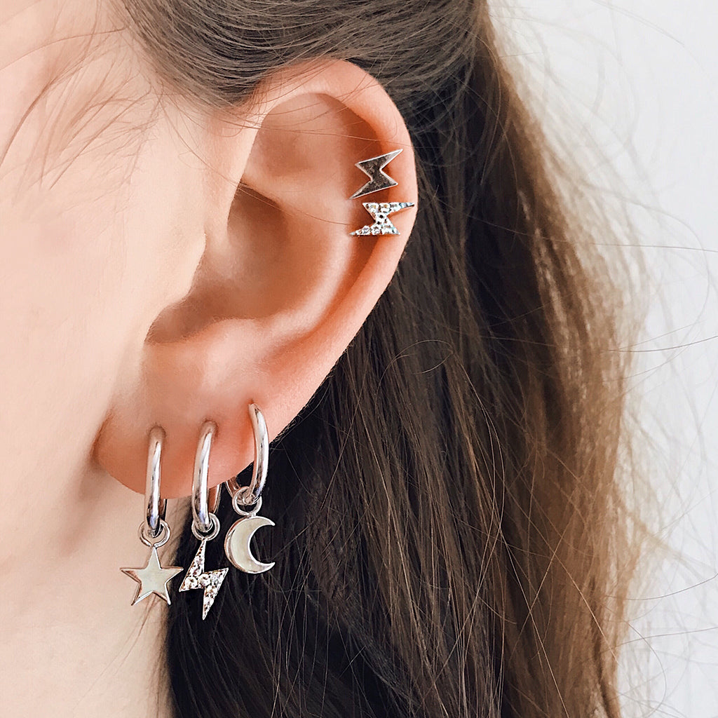 star moon huggies sterling silver huggie earrings  star moon ear hoops sterling silver hoop earrings lightning bolt thunderbolt hypoallergenic australian designer jewellery top 10 jewellery brands australia fashion jewellery online australia