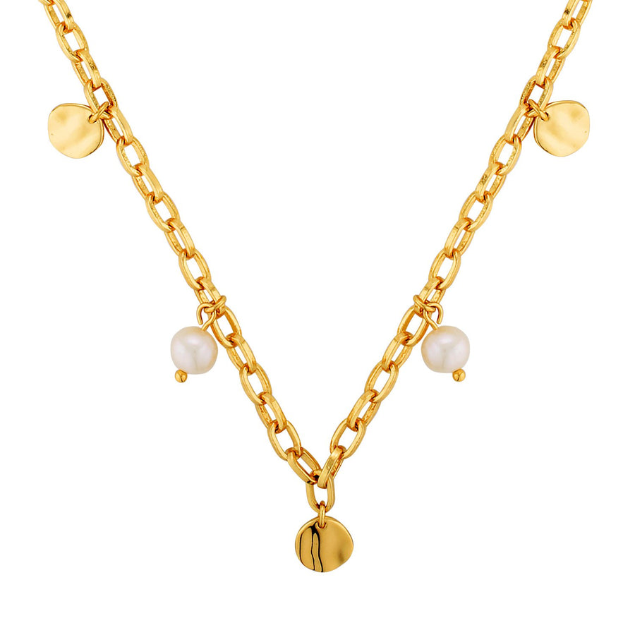 coin pearl necklace gold chunky chain womens jewellery Australian designer jewellery brand