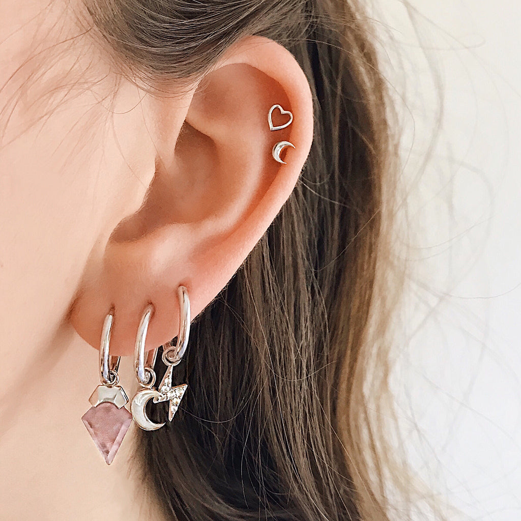 star moon huggies sterling silver huggie earrings  star moon hoop earrings sterling silver rose quartz hoops lightning bolt earrings love heart studs